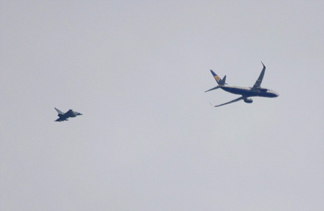 Two Typhoon fighter jets were scrambled this morning to escort a Ryanair flight into Stansted